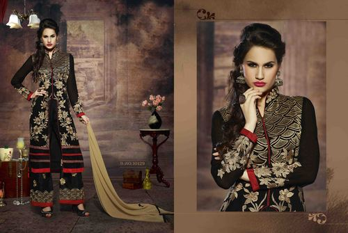 LATEST EMBROIDERED DESIGNER BLACK AND CREAM STRAIGHT SUITS