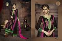 LATEST EMBROIDERED DESIGNER BLACK AND PINK STRAIGHT SUITS