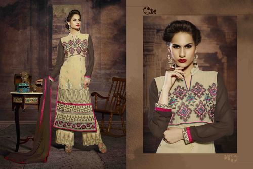 EMBROIDERED DESIGNER CREAM AND BROWN STRAIGHT SUITS