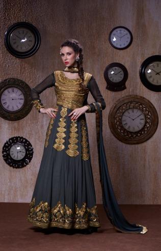 Grey New Georgette Designer Anarkali Suits