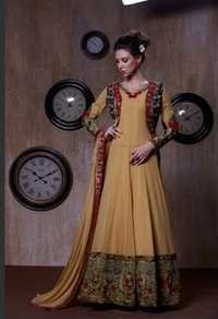 Beige New Georgette Anarkali Suits