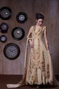 Beige Stylish Semistitched Anarkali Suit