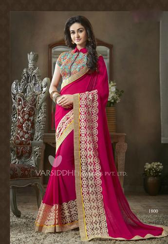 Dark pink georgette embroidery designer saree