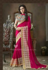 Dark pink georgette embroidery designer saree