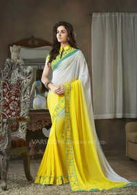 Yellow and White New Georgette Designer Saree