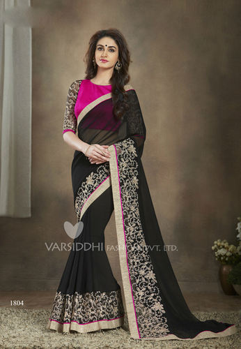 Black Modish New Georgette Designer Saree