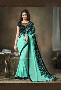 Light Green New Georgette Designer Saree