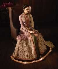 Beige Designer Wedding Wear Anarkali Suit