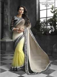 Saree Exotica Brown and Beige Faux Chiffon and Net Embroidery saree