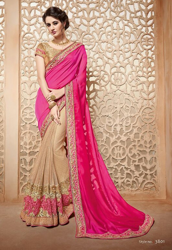 Pink Stylish Wedding Wear Saree