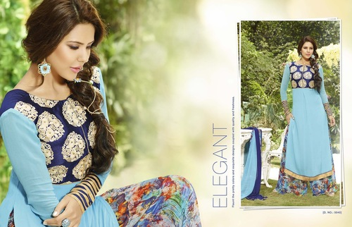 Stylish New Sky Blue Semistitched Salwar Kameez