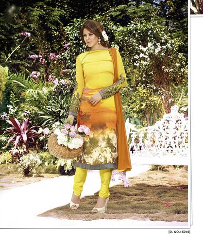 Yellow New Embroidery Semi Stitched Salwar Kameez
