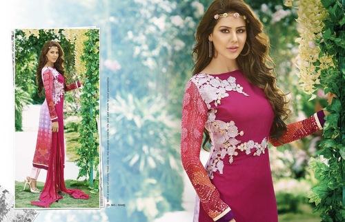 Pink Georgette Semistitched Salwar Kameez