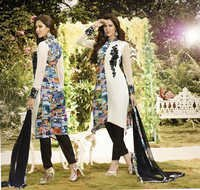 White New Modern Desiner Satin Salwar Kameez
