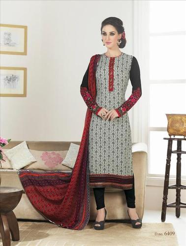 Multicolor New Crape Unstitched Salwar Kameez
