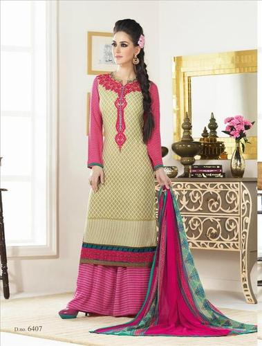 Cream And Pink New Unstitched Salwar Kameez