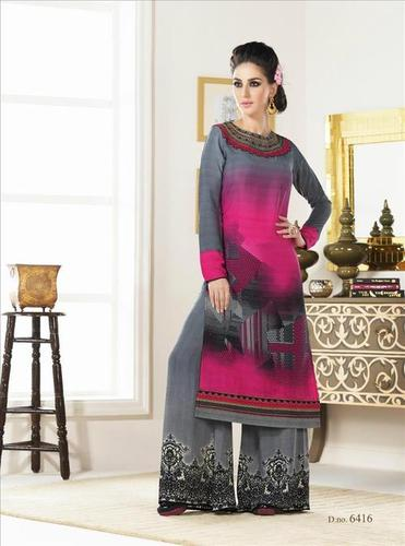 Pink And Grey New Crape Salwar Kameez