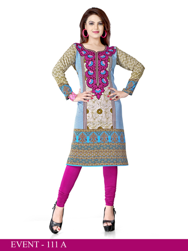 Pink and Green Embroidered Long Kurti