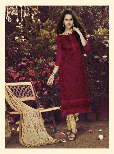 Maroon New Embroidery Unstitched Salwar Kameez