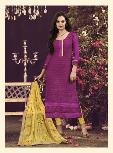 Dark Pink New Chanderi Unstitched Dress Material