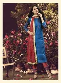 Blue New Chanderi Embroidered Salwar Kameez
