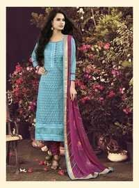 Elegant New Chanderi Sky Blue Salwar Kameez