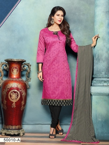 Pink New Embroidery Unstitched Salwar Kameez
