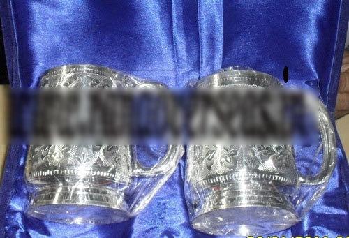 SILVER PLATED BEAR & MUG GLASSES