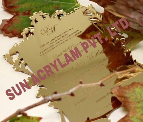 Acrylic Golden Mirror Invitation Card Sheet.