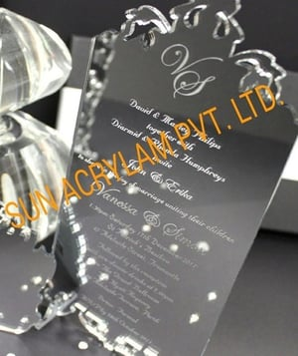 Acrylic Silver Mirror Invitation Card Sheet