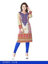 Pink and Blue Embroidred American Crepe Kurti