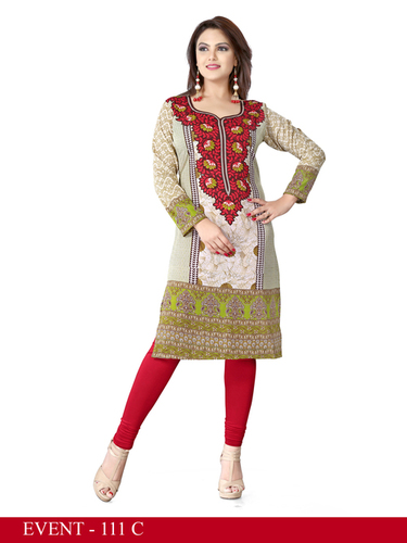 Red and Green Embroidered Long Kurti