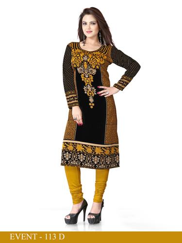 Black and Yellow Embroidered Long Kurti