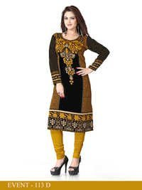Black and Yellow Embroidered Long Kurti