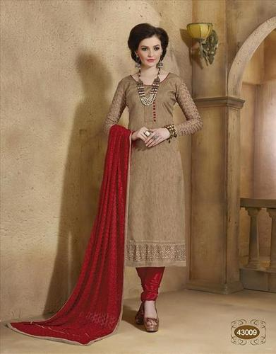 Brown New Unstitched Salwar Kameez