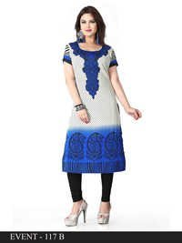 BLue and White Embroidered Long Kurti