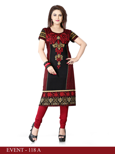 Red and Black Embroidered Long Kurti