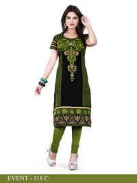 Black and Green Embroidered Long Kurti