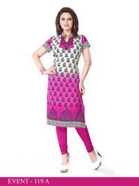 Pink and White Embroidered Long Kurti
