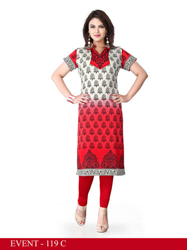 Red and White Embroidered Long Kurti