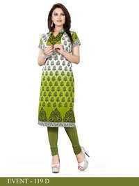 White and Green Embroidered Long Kurti