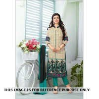 White New Semistitched Salwar Kameez