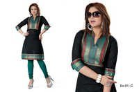 Black and Green Embroidered Cotton Kurti
