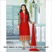 Red new semistitched salwar kameez in cambric cotton