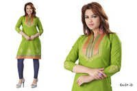 Green Embroidered Cotton Kurti