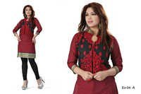 Black and Red Embroidered Cotton Kurti