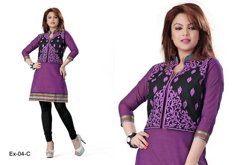 Black and Purple Embroidered Cotton Kurti