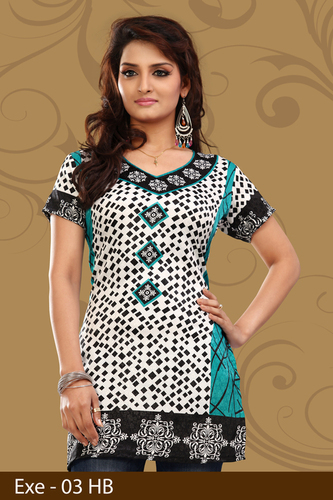 BLue and White Printed Jacquard Kurti