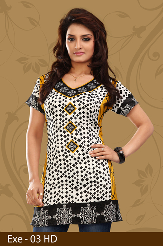 Black and White Printed Jacquard Kurti