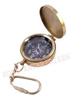 Nautical Brass Compass Key Chain with Cap
